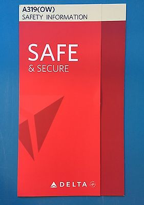 Delta Airlines Safety Card--Airbus 319 Overwater New Version