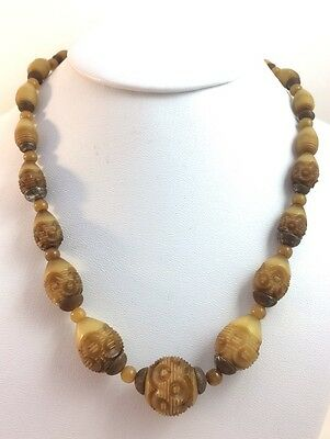 Vintage Art Deco Carved Resin Washed Brown Cream Galalith Bead Strand Necklace