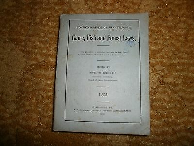 pennsylvania game,fish and forest laws 1923