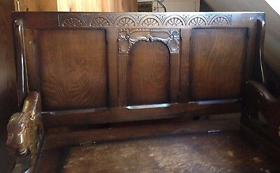 Carved Oak Monks Bench/Box with Storage