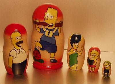 THE SIMPSONS - Hand Painted Russian Wooden Doll Set - Bart with Bat