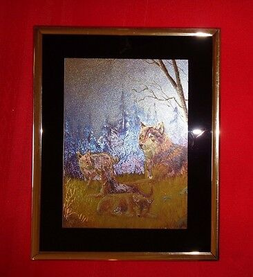 Wolves Family Matted Metallic Foiled Print 8 x 10 Gold Framed Picture