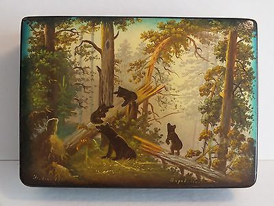 "Vintage Russian painted palekh lacquer box ""Morning in the Woods"""