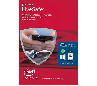 McAfee LiveSafe Internet Security 2016 | 1 Year | Unlimited Devices Protection
