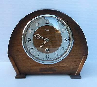 Enfield Oak Time Piece Mantle Clock Good Working Order