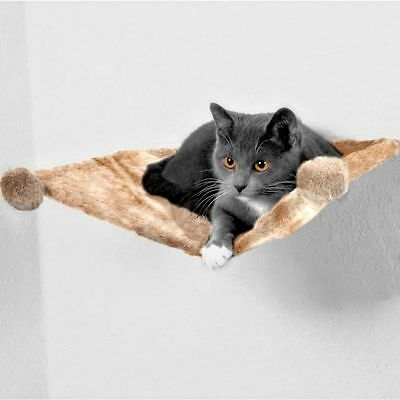 Plush Wall Mounted Cat Bed Hammock Basket Sleeping Area w/ Fixtures FREE TOY!