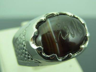 Turkish Handmade Ottoman Style 925 Sterling Silver Agate Stone Men's Ring Sz 9
