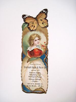 """RARE Vintage Ad Bookmark """"Everhart Organ & Piano Co."""" w/ Gorgeous Butterfly *"""