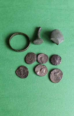 Ancient authentic  Scordisci Celts bronze coins, ring,earring, button