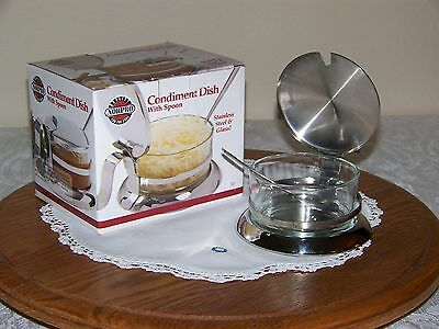 NORPRO - Condiment Sterling Set W/Glass Bowl and Dipping Spoon