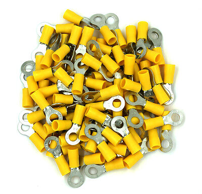 "100 Pack 1/4"" Ring Terminal Connector Yellow 12-10 Gauge AWG - SHIPS FREE TODAY!"