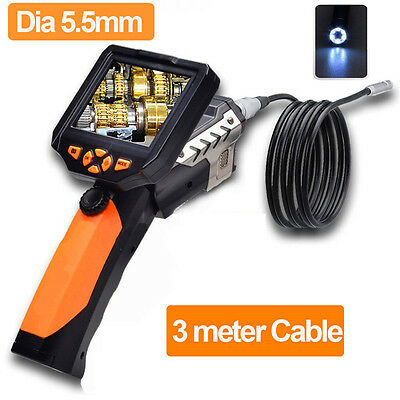 """3.5"""" LCD Monitor 5.5mm 3M Cable Camera Tube Endoscope Inspection Borescope DVR"""