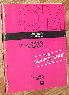 John Deere 340 440 Cyclone Owner's Manual Snowmobile Original OM-M67673