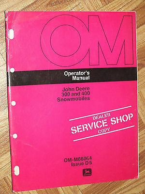 John Deere 400 500 600 Owner's Manual Snowmobile Original OM-M63829