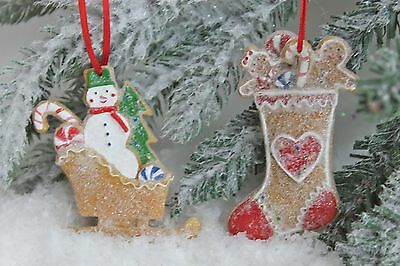 Gisela Graham Christmas Resin Gingerbread Snowy Snowman Stocking Decoration