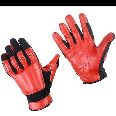 Self Defense TakeDown Police Security Red Black Steel Shot XL SAP Leather Gloves