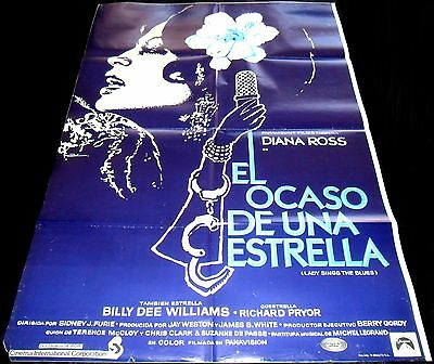1972 Lady Sings The Blues ORIGINAL SPAIN POSTER Diana Ross Sidney J. Furie
