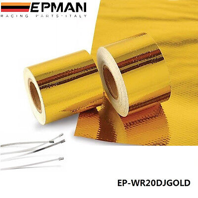 "2""x5m Roll Self Adhesive Reflective Gold High Temperature Heat Shield Wrap Tape"