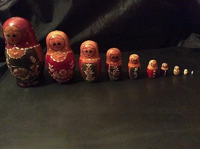 Vintage 10 Wood In Lay Multi Color Russian Nesting Dolls