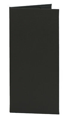 "(10pk) Menu Covers, 2-panel, 4.25"" x 11"" insert, Black Faux Leather"