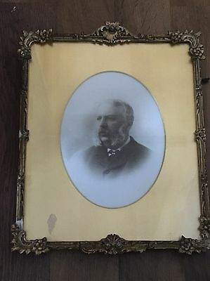 Rare Antique Art/nouveau/deco Portrait Picture On Porcelain Old Gold Gilt Frame