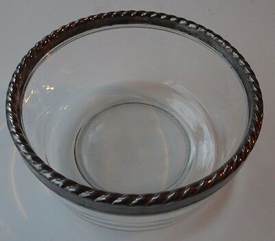 Vintage Condiment Small Decorative Glass Bowl with Silver Roped Edge Trim Italy