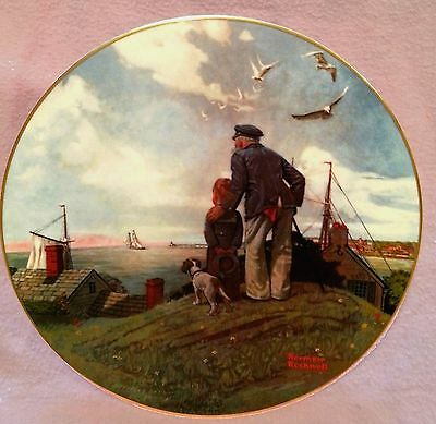 NORMAN ROCKWELL LOOKING OUT TO SEA PLATE River Shore Collector's plate