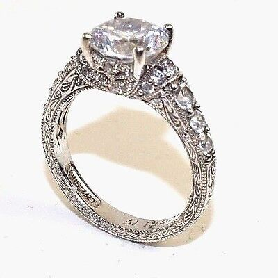 Tacori IV Sterling Silver Diamonique Engagement Ring Size 6   J57