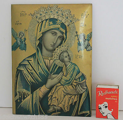 Our Lady of Perpetual Help Mary Jesus Celluloid Tin Picture Religious Vintage