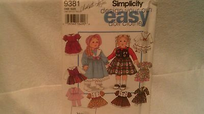"Simplicity 9381 Doll Clothes Pattern  Fits 18"" Doll,  Cut But Complete"