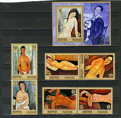 Manama 1971 Paintings By Modigliani/nudes Set Of 6 Stamps & S/s Perf.mnh