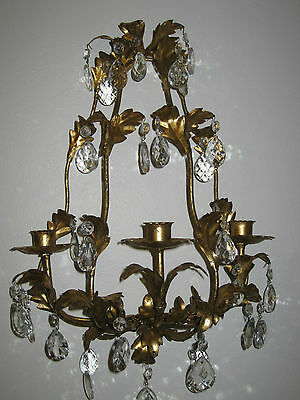 French Country Metal Candleholder Wall Sconce (32) Glass Prisms Victorian