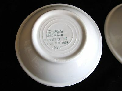 """LOT OF 2 BUFFALO CHINA ALL WHITE 5-1/4"""" BERRY FRUIT BOWLS Property of NYC 1963"""