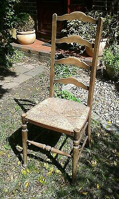 Vintage French, oak tall/ladder back chair with rush seat