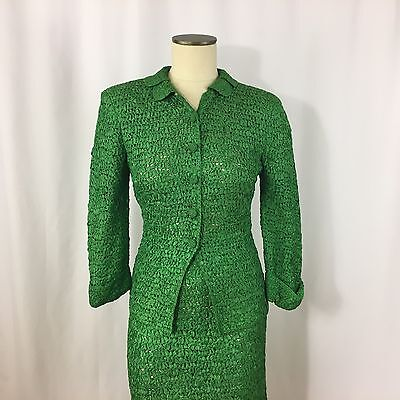 Vintage MARINA California Knit 2 Pc Skirt Suit Green Size 6 Women's 3/4 Sleeve