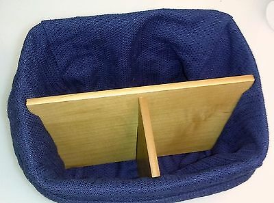2002 Longaberger TV Time Basket with Blue Cloth Liner & Wooden Inserts - CLEAN