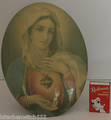 Virgin Mary Celluloid Metal Oval Picture Stand Holy Mother Religious Vintage