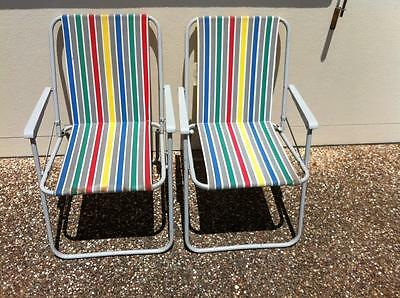 Vintage Stripe Folding Chairs Picnic, Camping Polyester/Cotton x 2