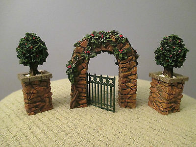 Dept 56 Village Stone Corner Posts with Holly Tree and Stone Archway