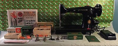 Refurbished 1950 Singer 201-2 Sewing Machine Heavy Duty Leather Extras,video,vgc