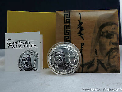 2016 PROOF Chinggis Khaan 1000 Togrog 1 oz.999 FINE Silver High Relief Coin|5550