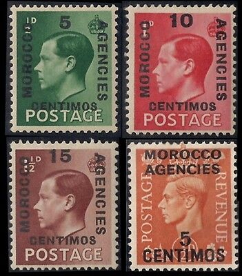 1936 Great Britain Offices in Morocco Stamps Scott# 78, 79, 80, 83