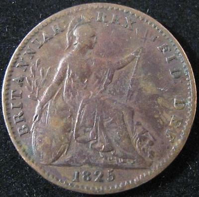 P443 - 1825 - Great Britain - One Farthing Coin - Km#677 - Nr