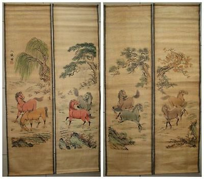 Ancient Chinese painting scroll Eight horse 4 scrolls