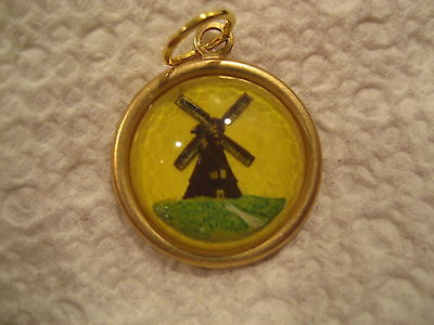 Reverse carved  & painted HOLLAND DUTCH WINDMILL vintage intaglio  pendant