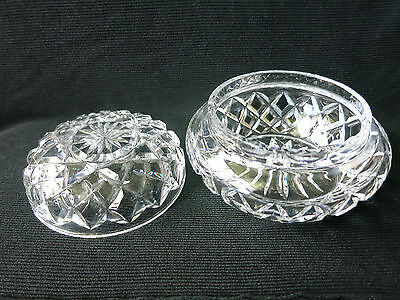 1950s lead crystal powder bowl with lid, classic diamond cut with daisy centre