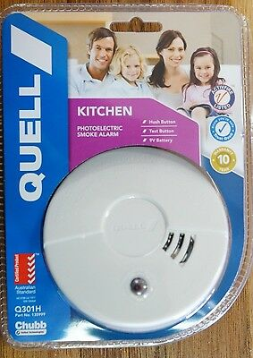 Smoke Alarm New Quell Kitchen Photoelectric Detector 10 Year Warranty w/ Battery