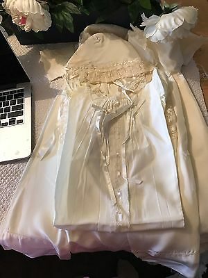 Vintage Christening Outfit New: Hat, Coat, Dress, & Slip Cream Satin & Lace