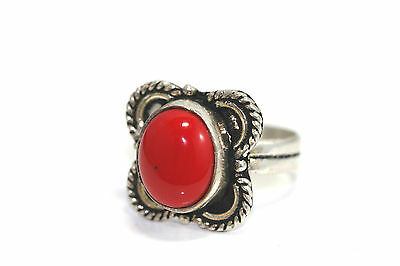 A224 Red Coral Sterling Ring Genuine 4g size 8