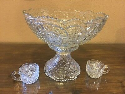 Pressed Glass Punch Bowl With Stand Imperial Of Ohio Broken Arches Pattern EAPG